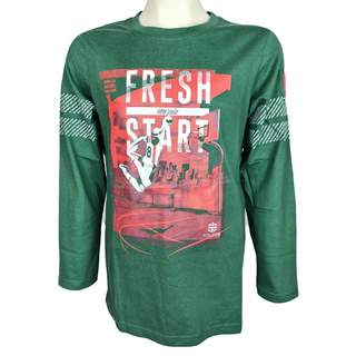Bluza ML cu imprimeu FRESH START, verde