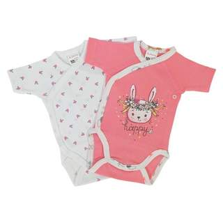 Set body maneca scurta PINK RABBIT cilamen 0-6 luni