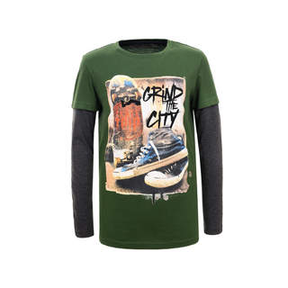 Bluza ML cu imprimeu verde GRIND THE CITY